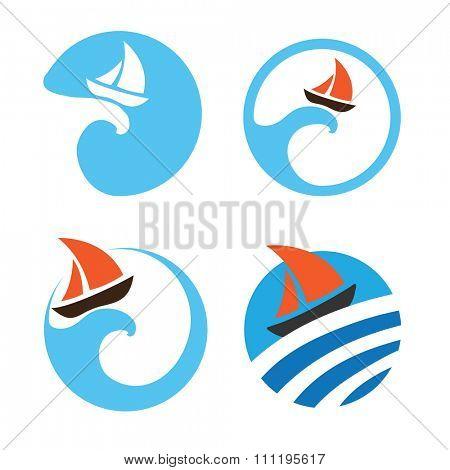 Yachts and sailing boats, regata. Set of logos