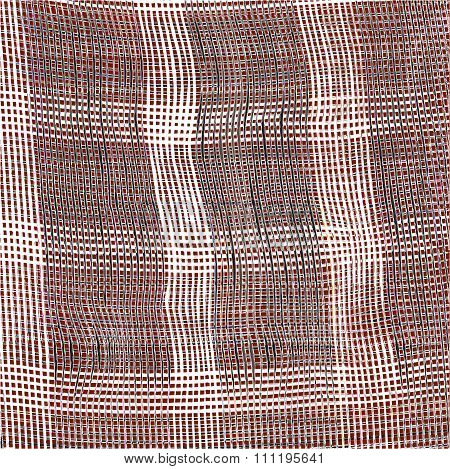 Checkered Weave Cloth Background With Grunge Black And White Stripes On Brown Backdrop