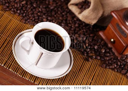 hot coffee in coffeehouse