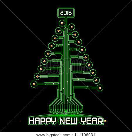 Techno Happy New Year Christmas Tree Green