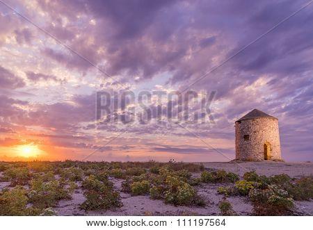 Old windmill ai Gyra Agios Ioannis beach, Lefkada Greece