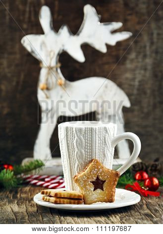 Christmas Linzer Cookies And Cup Of Hot Chocolate