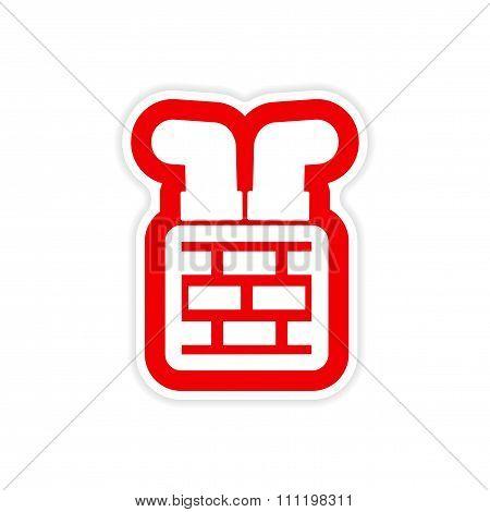paper sticker on white background Santa in chimney