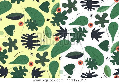 Transparent seamless green pattern with leaves needles and orange berries