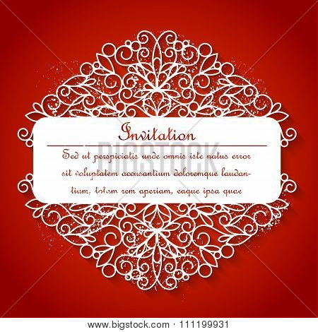 White paper decor with shadow on red
