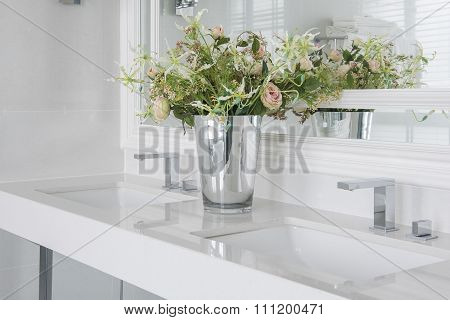 Modern Wash Basin With  Counter And Vase Of Flower