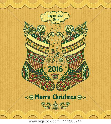 Christmas Stocks with gift  in Zen-doodle style grunge beige background