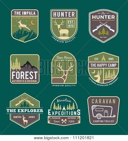 Set Of Trekking And Adventure Travel Badge Logo