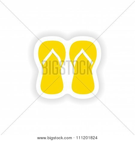 icon sticker realistic design on paper thongs