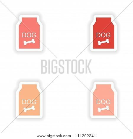 assembly realistic sticker design on paper dog food