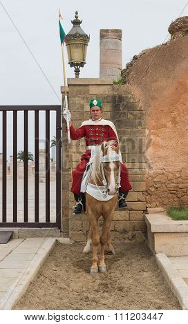 One Soldier Sits On The Horse To Protect The Entrance Of Mausoleum Of Mohammed V