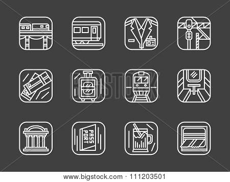 Passenger transportation white line vector icons