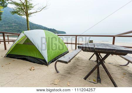 Tent besides beach