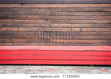 Old Wooden Wall Patern With Red Wooden Bench