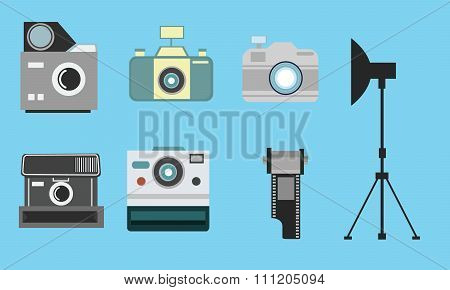 camera vintage flat icon set film roll photography collection