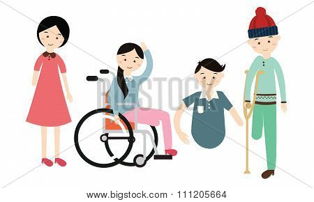 world disability day disabled people vector flat illustration disable