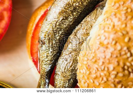 Sardines In Burger Closeup