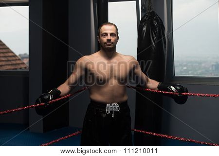 Boxer In The Ring Hands On Rope