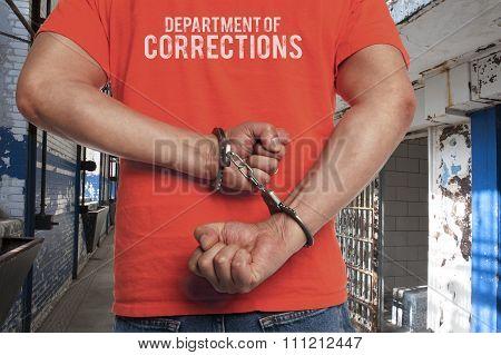 Prison Inmate in handcuffs