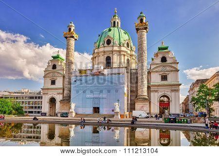 Vienna, Austria-spetember 10, 2015:charles Church (karlskirche) On Charles' Square(karlsplatz),vienn