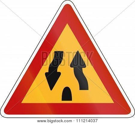 Korea Traffic Safety Sign - Attention - Median End