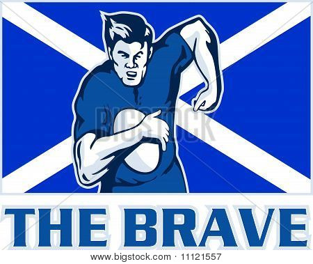 rugby player running scotland flag