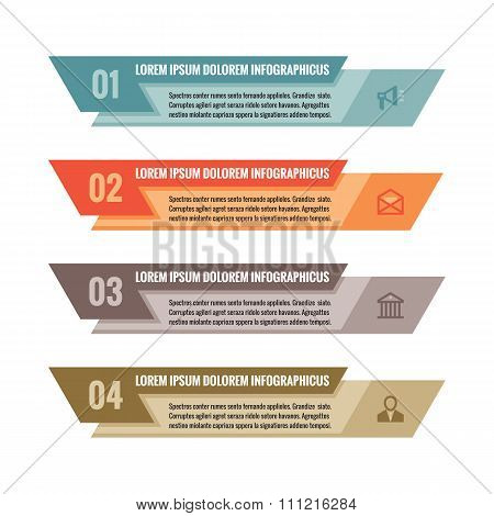 Infographic business concept - colored horizontal vector banners. Numbered options.