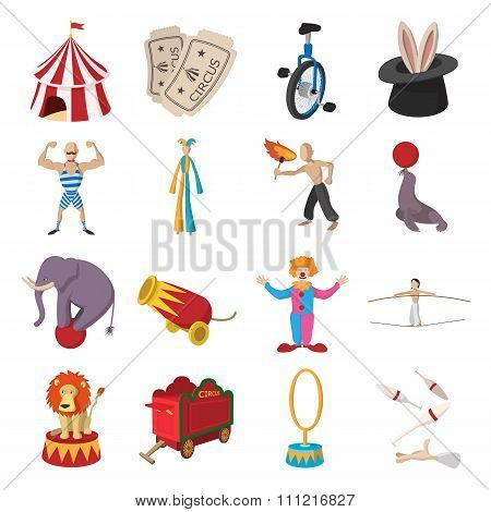 Circus show icons cartoon collection