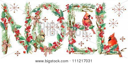 watercolor Christmas background. watercolor Christmas tree, holly branches, snow, snowflake, forest