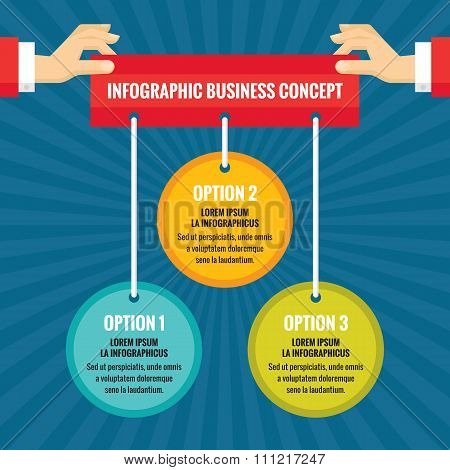 Human hands with colored circles - infographic business concept - vector concept illustration.