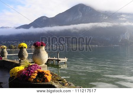 Flowers And Annecy Lake, In France
