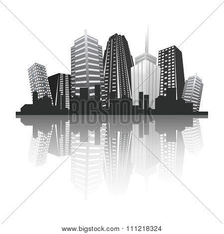 Vector Urban Skyscraper Skyline greyscale illustration