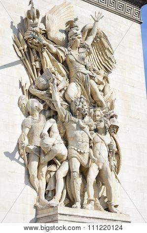 Detailed Carvings on Arc de Triomphe