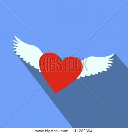 Heart with wings flat icon