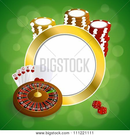 Background abstract green gold casino roulette cards chips craps frame circle illustration vector