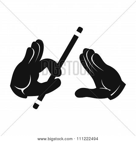 Magician hands with stick simple icon