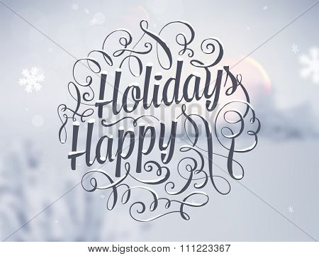 Winter Background. Blurred Landscape with Snow Drifts, Snowfall and Christmas Trees in the distance. Holiday Vector Illustration with Snowflakes, Sky and Xmas Label.