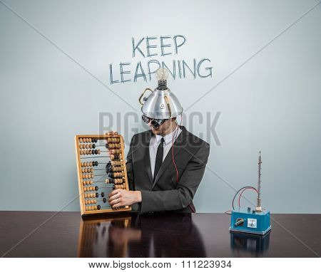 Keep learning concept with businessman