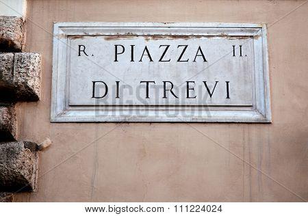 Piazza Di Trevi In Rome, Italy