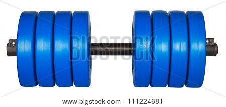 Blue Dumbells Weight Isolated On White