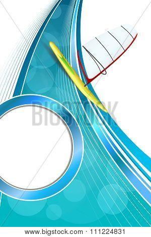 Background abstract sea sport holidays design red green windsurfing blue circle frame vertical