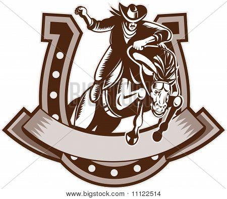 Rodeo Cowboy jumping horse hroseshoe