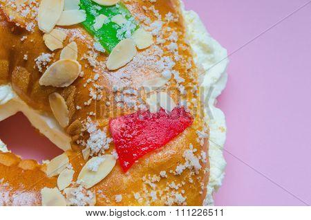 King Cake Cream Pink Background