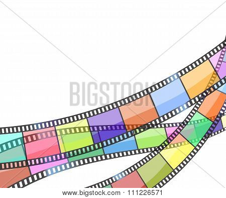 Background With Color Filmstrip. Vector