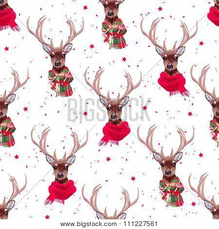 Graceful Deer Wearing Winter Scarves Seamless Vector Print