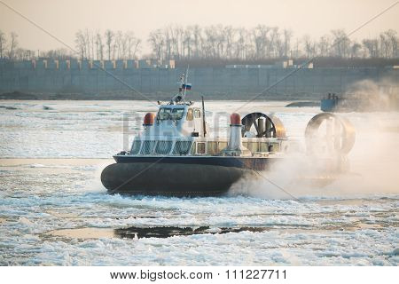 Russian ACV Hovercraft in Action on a Frosen River. Air Cushion