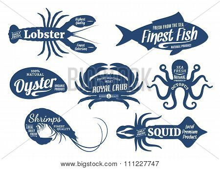 Seafood Silhouettes Collection, Seafood Shop Labels Templates
