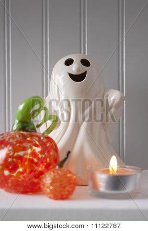 Shelf of Halloween Decorations