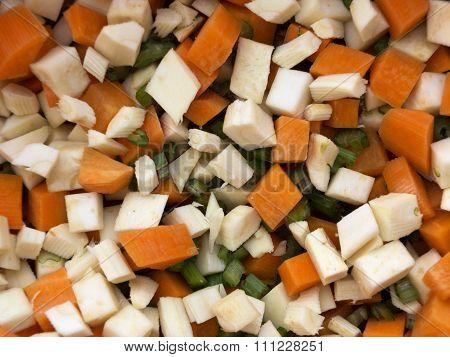 Chopped Celery, Parsnips, Carrot And Celery Stalk