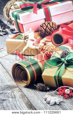 Vintage Handmade Wrap For Christmas Presents